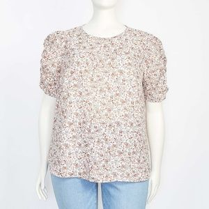 PLUS SIZE FLORAL CINCHED PUFF SLEEVE TOP NEW